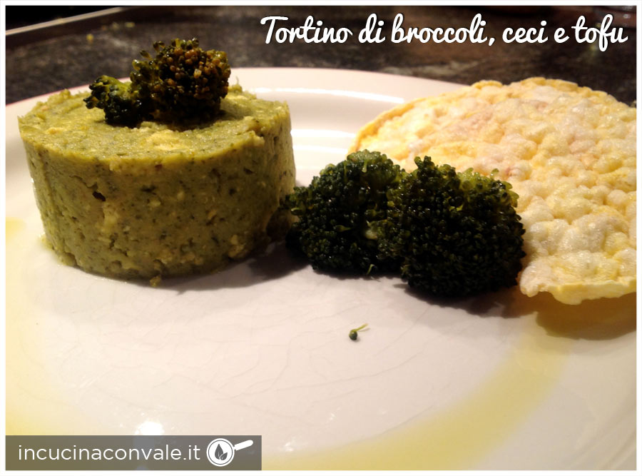 tortino di broccoli, ceci e tofu