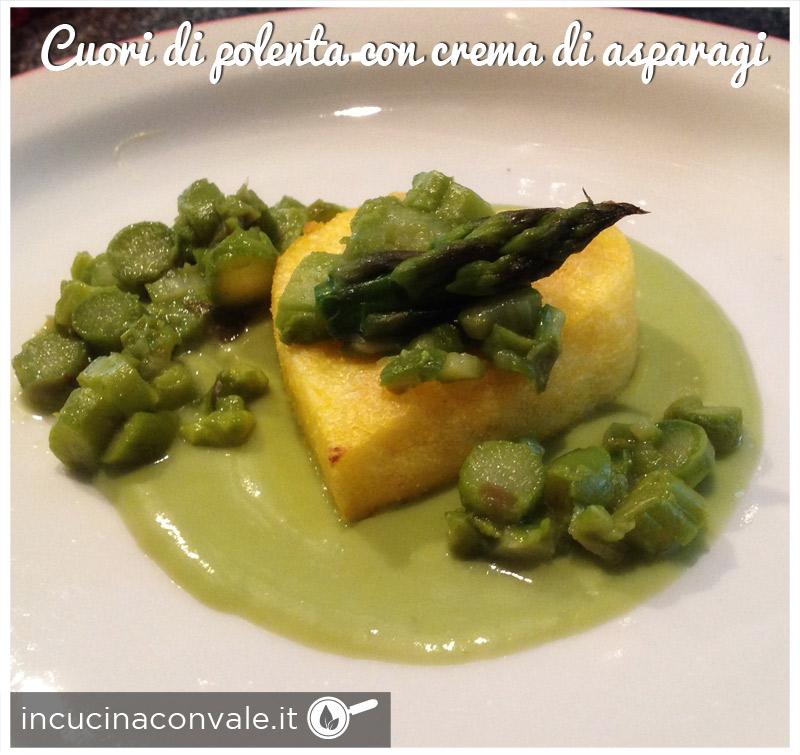 Cuore di polenta con crema di asparagi