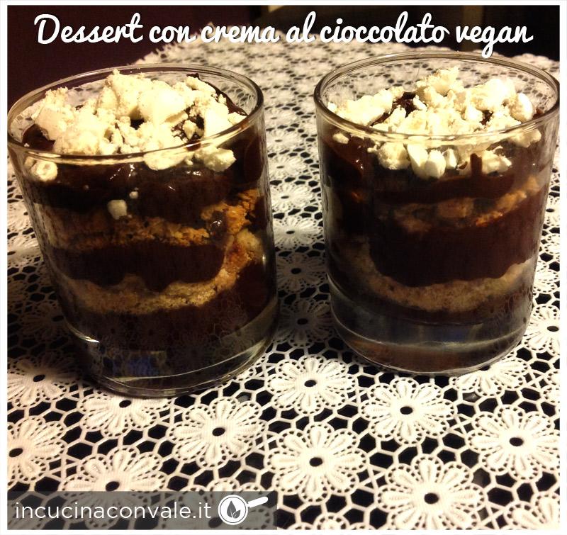 Dessert con crema al cioccolato vegan