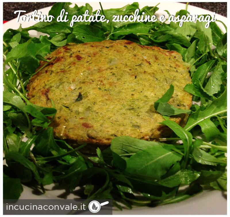 Tortino vegan di patate, zucchine e asparagi