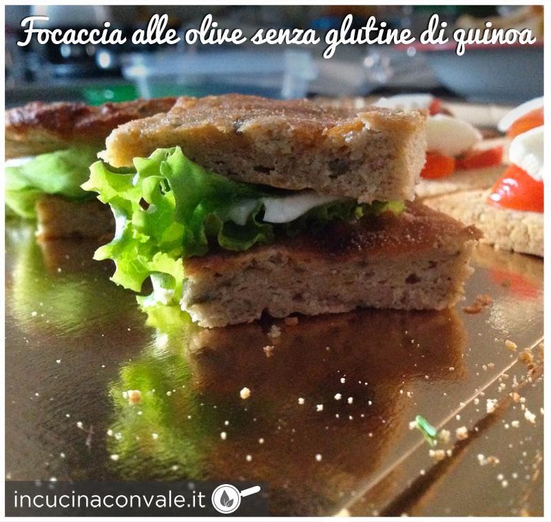 Focaccia senza glutine alla quinoa con olive verdi