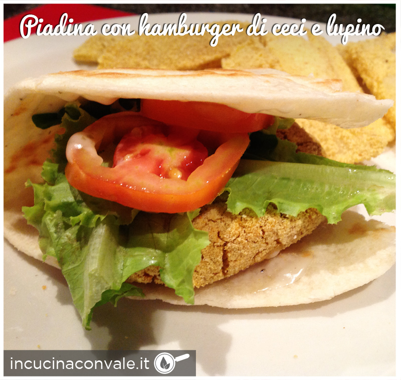 piadina con hamburger di ceci e lupino senza glutine