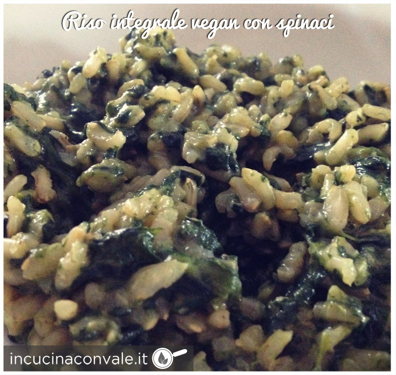 Riso integrale vegan con spinaci