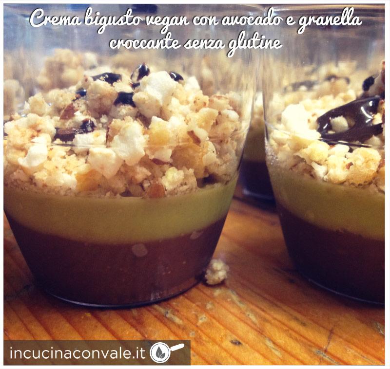 Crema bigusto vegan con avocado e granella croccante senza glutine
