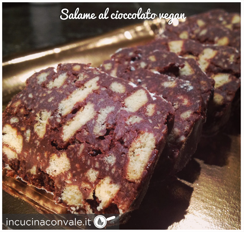 Salame al cioccolato vegan senza uova senza burro