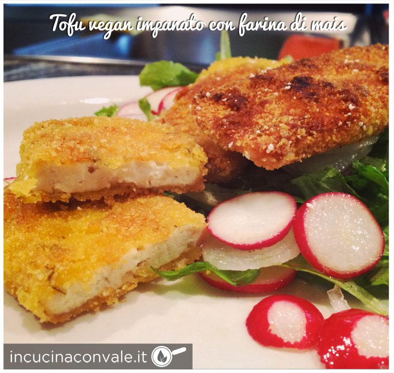 Tofu vegan impanato con farina di mais
